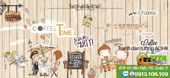 trang trí tranh dán tường 3d cho quán cafe