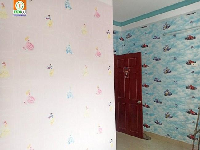 dán giấy dán tường phòng ngủ cho bé trẻ em 63214