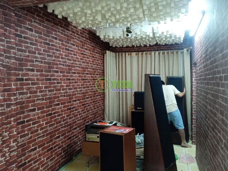 Giấy dán tường 3d giả gạch cho phòng karaoke