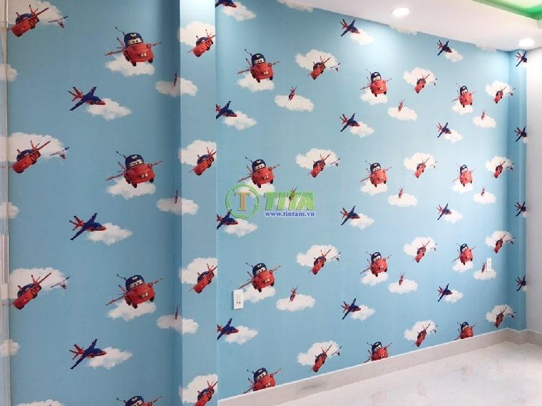 giấy dán tường trẻ em kid xe hơi máy bay cho phòng bé trai