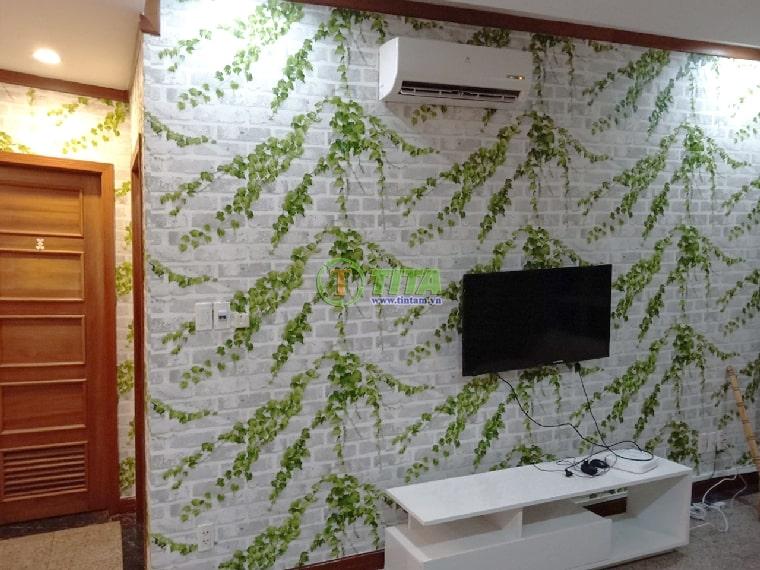 giấy dán tường 3d cây cối giả gạch cho phòng khách tivi