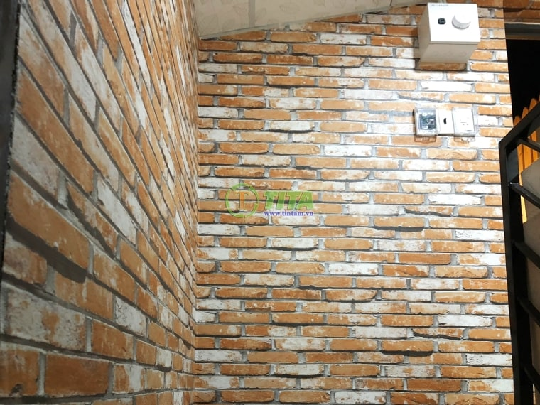 giấy dán tường 3d giả gạch đá cổ điển