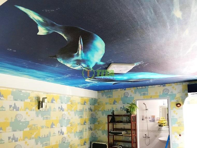 Giấy dán tường trẻ em kid hình cá mập dán trần