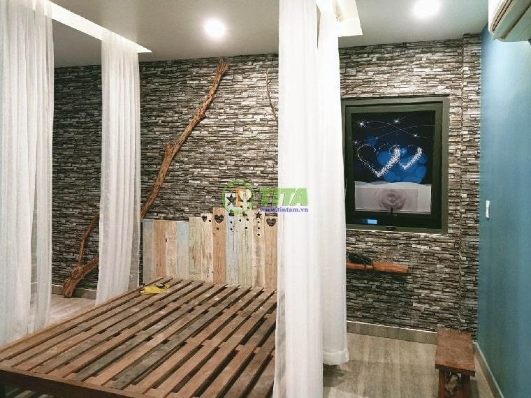 Giấy dán tường 3d giả đá cho phòng ngủ