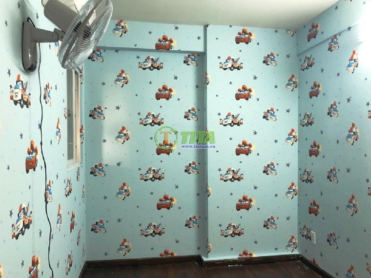 Giấy dán tường trẻ em kid hình xe hơi cho phòng ngủ bé trai