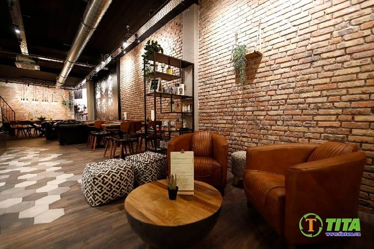 giấy dán tường 3d giả gạch quán cafe