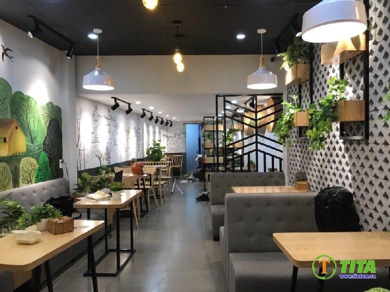 trang trí giấy dán tường 3d quán cafe