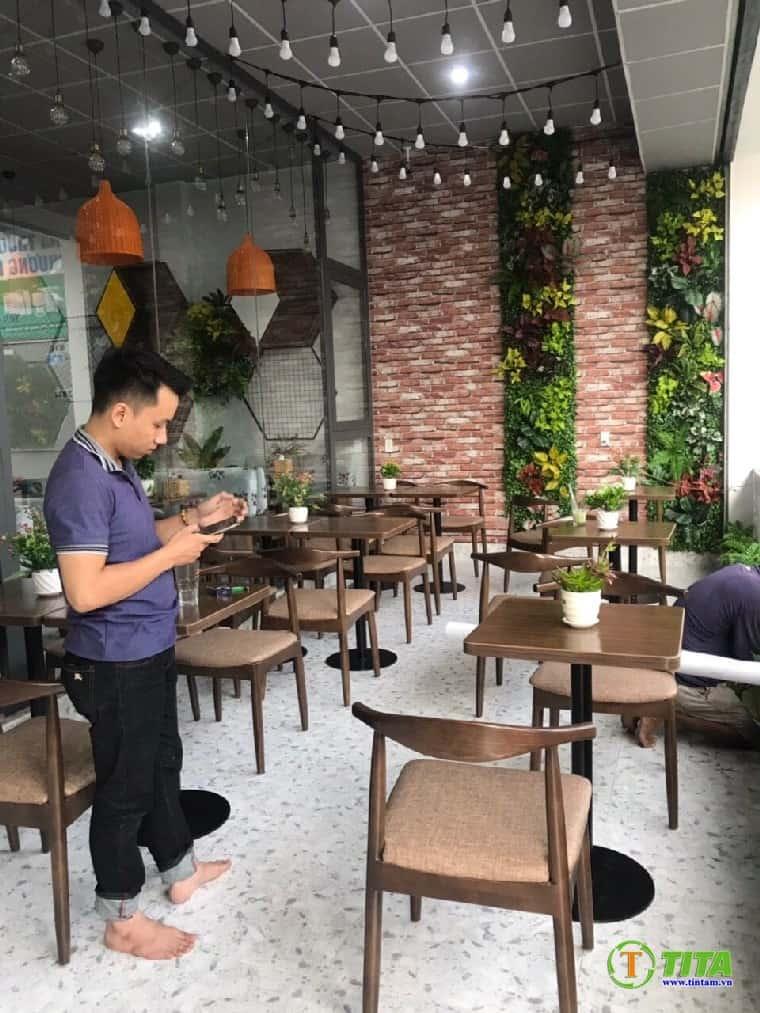 thi công giấy dán tường 3d quán cafe