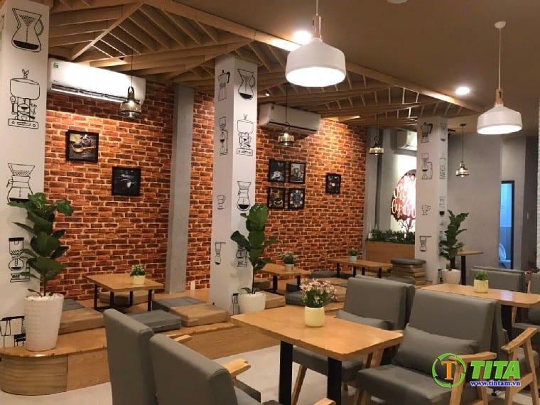 giấy dán tường 3d giả gạch cho quán cafe hiện đại