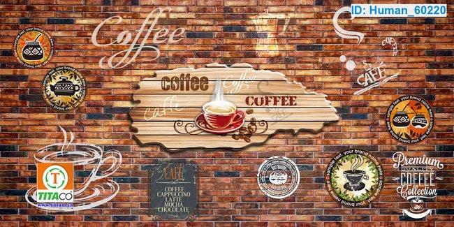 tranh dán tường 3d quán cafe cà phê tphcm T6543-5