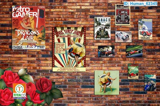 tranh dán tường 3d quán cafe cà phê tphcm T6256-1