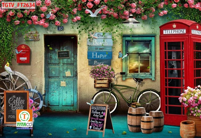 tranh dán tường 3d quán cafe cà phê tphcm T6654-2