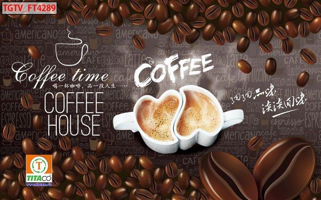 tranh dán tường 3d quán cafe cà phê tphcm T6458-5