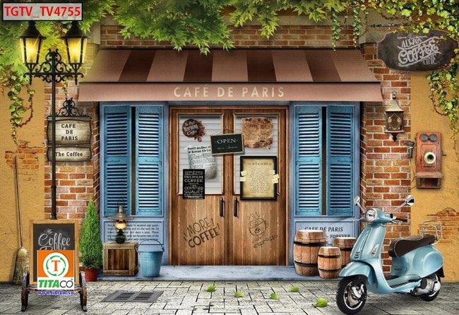 tranh dán tường 3d quán cafe cà phê tphcm T6452-2