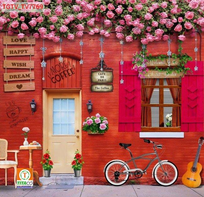 tranh dán tường 3d quán cafe cà phê tphcm T6254-5