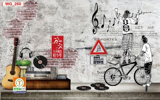 tranh dán tường 3d quán cafe cà phê tphcm T6452-5
