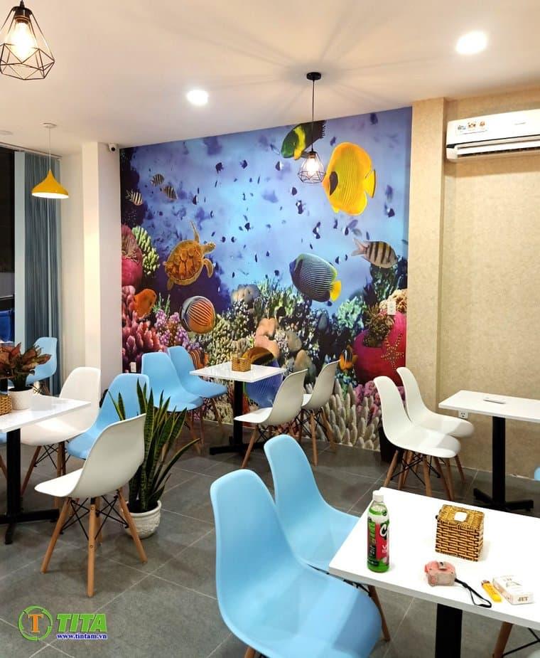 tranh dán tường 3d quán cafe cà phê tphcm T6584-2