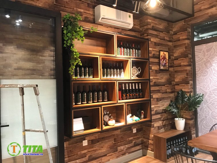 giấy dán tường 3d quán cafe - giả gỗ